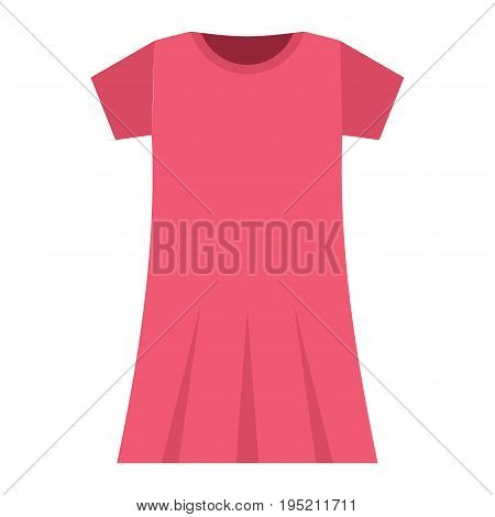 Pink dress fashion clothes for modern woman. Flat icon for web vector illustration