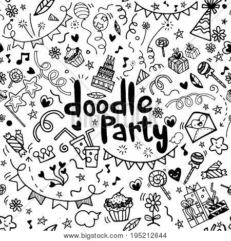 Objects and symbols on the Party element. Hand drawing Doodleseamless background doodle vector.
