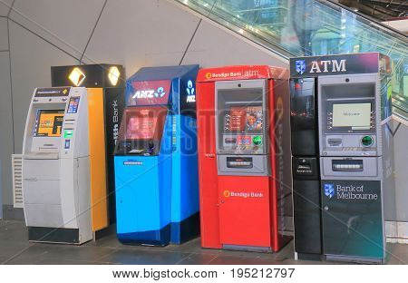 MELBOURNE AUSTRALIA - JULY 2, 2017: ATM cash dispensers in downtown Melbourne.