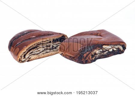 Sweet poppy seed danish pastry isolated on white background