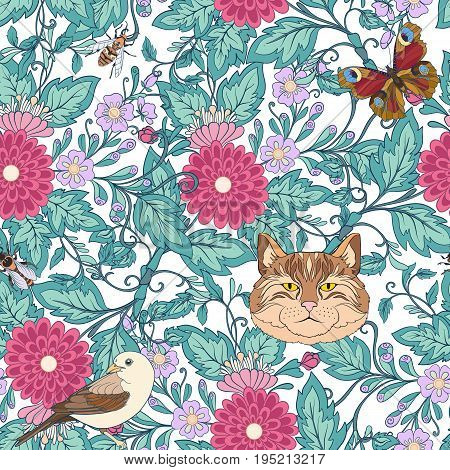 Seamless pattern, background with vintage style flowers and cats, bird butterflies, bees in pink and green colors. Stock line vector illustration.