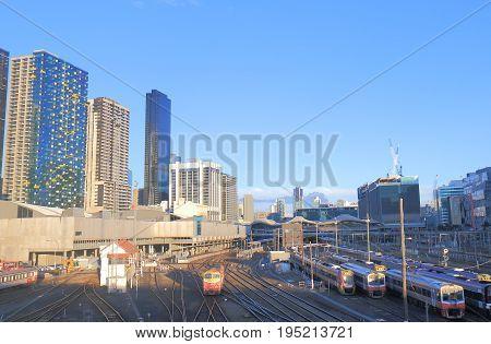 MELBOURNE AUSTRALIA - JULY 3, 2017: Southern Cross train station cityscape in Melbourne