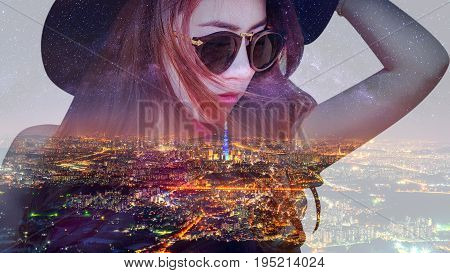 Double Exposure,beautiful Girl And Cityscape.