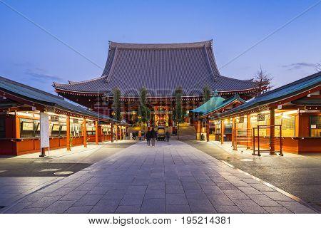 Sensoji Temple At Night In Tokyo, Japan