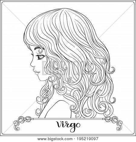 Virgo. A young beautiful girl In the form of one of the signs of the zodiac.  Outline hand drawing coloring page for adult coloring book. Stock line vector illustration.