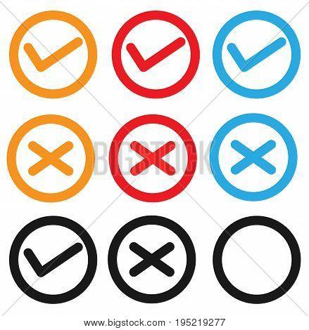 set checkbox icon on white background. set checkbox icon sign. check mark icon.