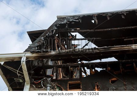 Burnt Interiors Of House After Fire. Burned Wooden Walls