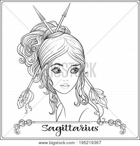 Sagittarius,  archer. A young beautiful girl In the form of one of the signs of the zodiac.  Outline hand drawing coloring page for adult coloring book. Stock line vector illustration.