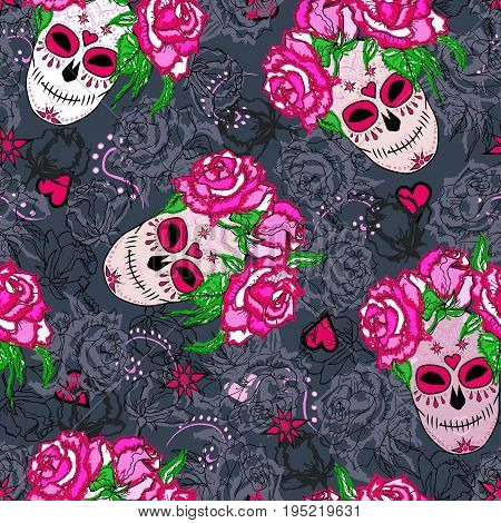 Seamless pattern with sugar skull and pink roses. Day of the dead (Dia de los muertos). Happy Halloween.