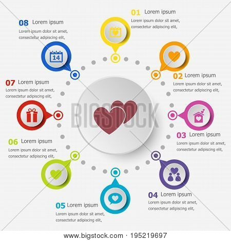 Infographic template with love icons, stock vector