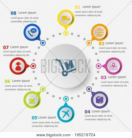 Infographic template with logistic icons, stock vector