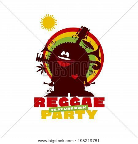 funny cartoon musician man with instruments and cannabis. classic color reggae music concept poster. Jamaica poster vector illustration