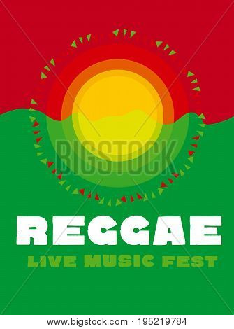 relaxing travel poster in reggae music color. Jamaica tribal simple concept background vector illustration