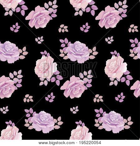 rose floral pattern on black background. pale color rose seamless vector illustration