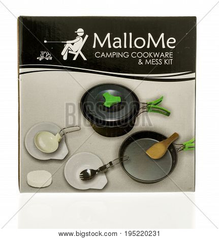 Winneconne WI - 10 July 2017: A box of Mallome camping cookware ane mess kit on an isolated background.