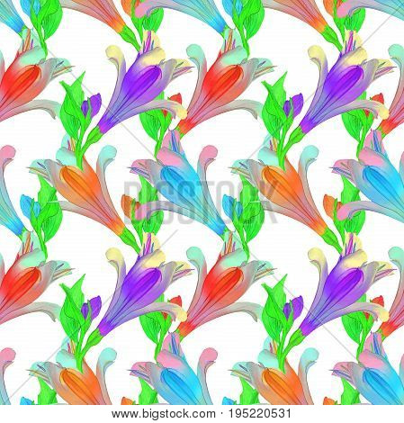Alstroemeria. Texture of flowers. Seamless pattern for continuous replicate. Floral background photo collage for production of textile cotton fabric. For use in wallpaper covers