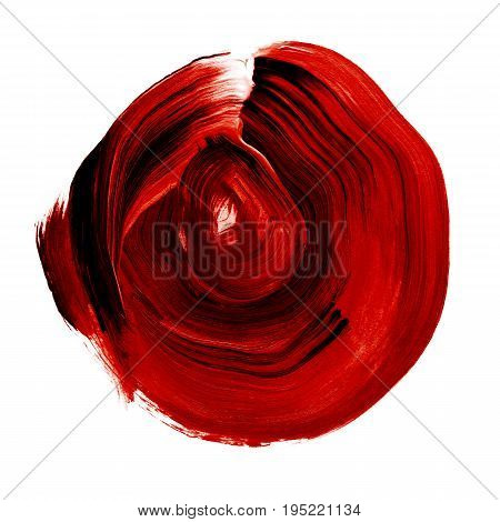Red Black Rose Textured Acrylic Circle. Watercolour Stain On White Background.