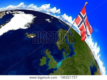 Norway national flag marking the country location on world map. 3D rendering, parts of this image furnished by NASA