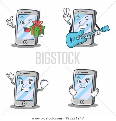 Set of iPhone character with gift guitar smirking vector illustration