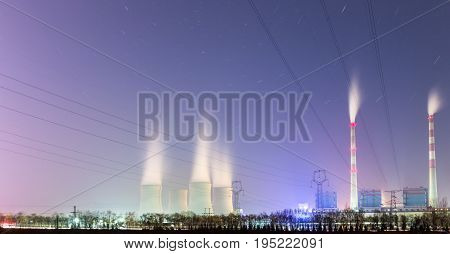 power plant at night energy infrastructure background