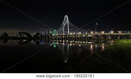Margaret Hunt Hill Bridge At Night