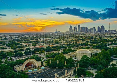 Dallas Skyline Sunset Aerial View Texas and twilight sky