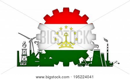 Energy and Power icons set with flag of the Tajikistan. Sustainable energy generation and heavy industry. 3D rendering.