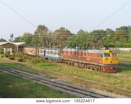 Ge Diesel Locomotive No.4552 Working In Chiangmai Station Yard.
