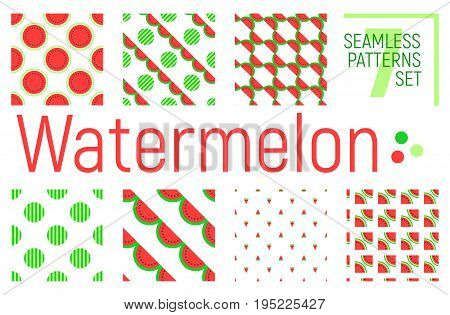 Watermelon Seamless Pattern, Vector Background