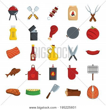 Bbq grill colored decorative icons set with barbeque and cooking utensil isolated vector illustration in cartoon style