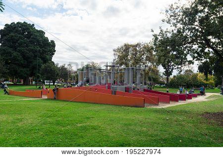 Melbourne, Australia - April 30, 2017: public playground in the Carlton Gardens in Melbourne, Australia.