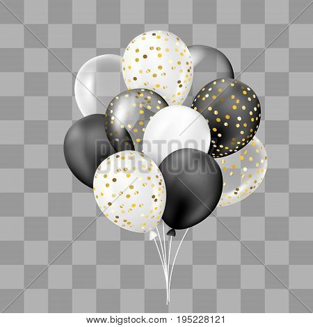 Black and white transparent and with confetti balloons bunch. Decorations in realistic style for birthday anniversary or party design.