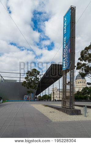 Melbourne, Australia - April 30, 2017: Melbourne Museum is a historical and natural history museum in Carlton, designed by Denton Corker Marshall Architects