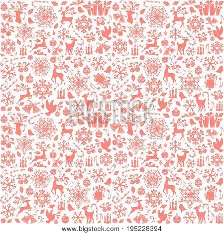 Christmas seamless pattern from holiday elements icons symbols and ornaments. Pink background.