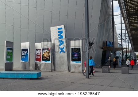 Melbourne, Australia - April 30, 2017: the IMAX Cinema at the Melbourne Museum in Carlton has Melbourne's largest cinema screen.