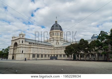 Melbourne, Australia - April 30, 2017: the Royal Exhibition Buildings in Carlton are a UNESCO World Heritage site and site of Australia's first parliament.
