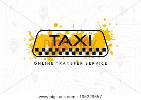 Taxi online service banner. Line art taxi sign with yellow ink elements on the outline city map background. Call taxi conceptual flyer or poster design template.