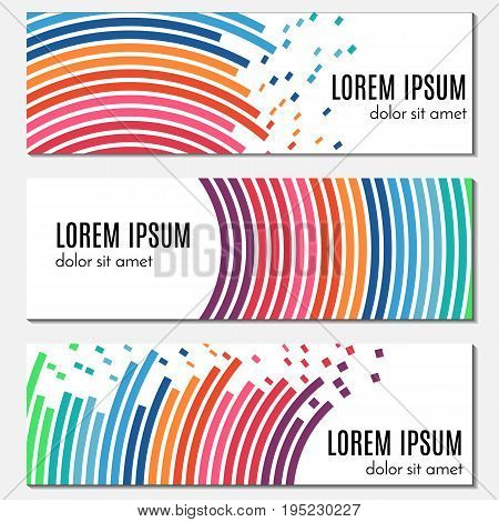 Set of colorful abstract header banners with curved lines and flying pieces. Vector backgrounds for web design.