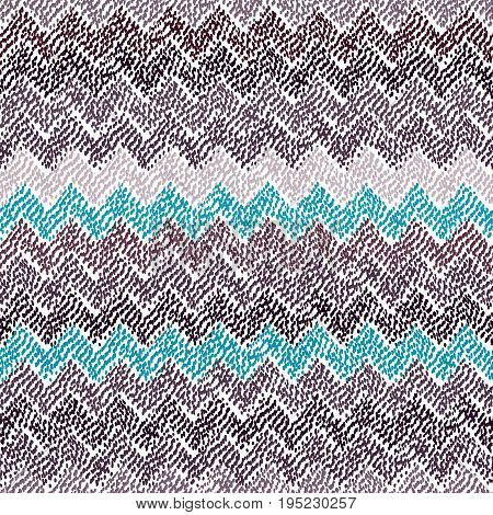 Seamless ikat pattern. Simple chevron ornament. Stripe print. Blue, gray and white colors. Vector illustration.