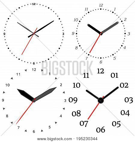 A set of four mechanical clocks. Clock face on white background.
