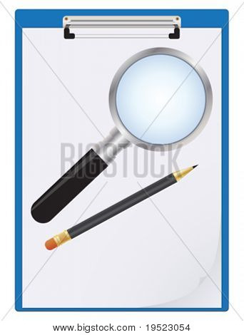 Clipboard with magnifier and pencil