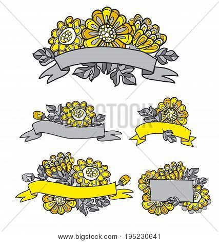 yellow decorative stylized daisy floral fall element. flower bouquet with stripe