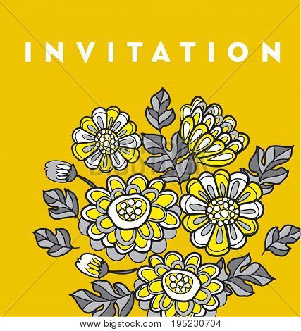 yellow decorative floral fall card template. flower vector illustration motif for invitation and header
