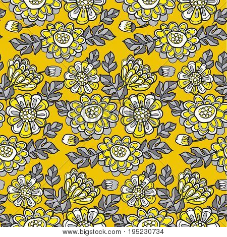 yellow decorative summer floral fall seamless pattern. black and gray vector illustration marigold flower motif
