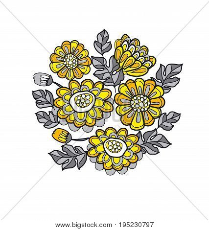 yellow decorative stylized daisy floral fall pattern. black and gray flower bouquet
