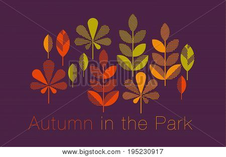 autumn leaves vector illustration abstract. full leaf header in geometry style