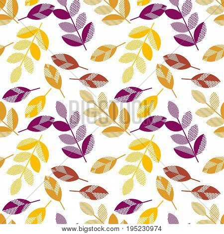 autumn leaves vector illustration abstract. seamless pattern with colorfull full leaf on white background