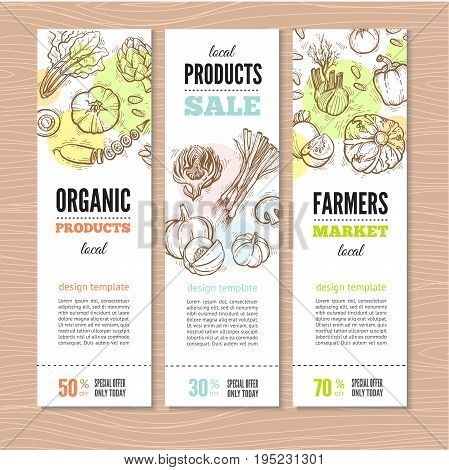 Set of banners with vegetables and greens, organic food. Perfect design for farm market advertising and bio product business. Modern business identity for bio products and agricultural industry.