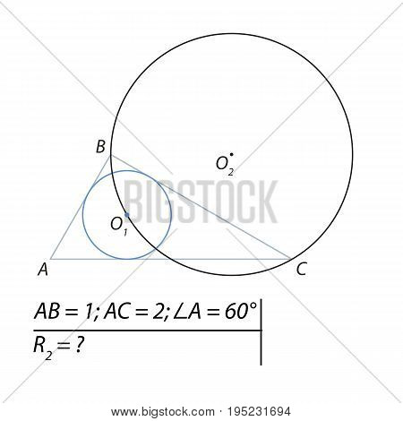 Vector illustration of a geometrical problem to find the radius of the inscribed circle-01