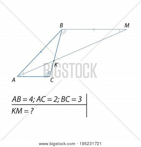 Vector illustration of a geometrical problem to find the segment KM-01
